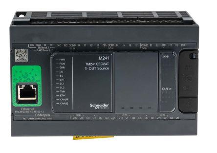 Schneider Electric Modicon M241 PLC CPU Mini USB Interface, 128000 Steps  Program Capacity, 14 Inputs, 10 Outputs, 24 V