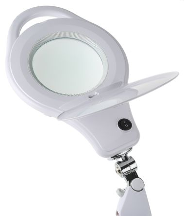 RS PRO LED Magnifying Lamp with Table Clamp Mount, 3 dioptre, 5 dioptre, 125mm Lens, 125mm Lens