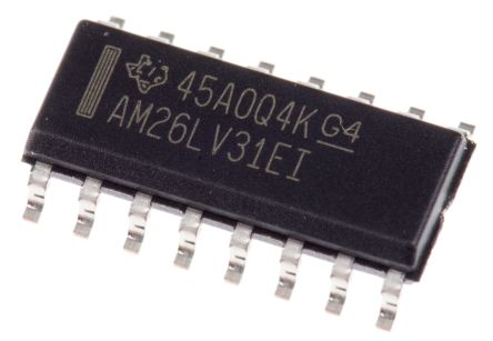 AM26LV31EIDR Texas Instruments, 4-Channel Differential Line Driver 3.3 V 32MHz 16-Pin SOIC