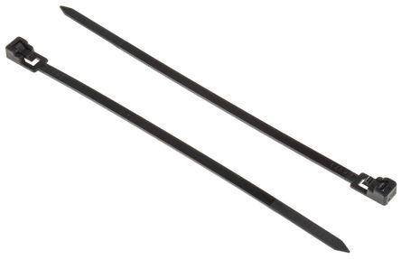 RS Pro Nylon 66 Kabelbinder Lösbar 4,5 mm x 150mm, schwarz schwer ...
