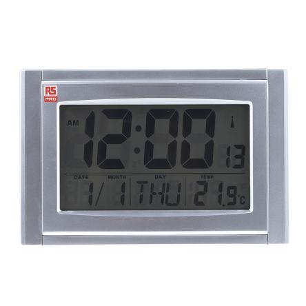 c6dbb613bae RS PRO Radio Controlled Silver Digital Wall Clock