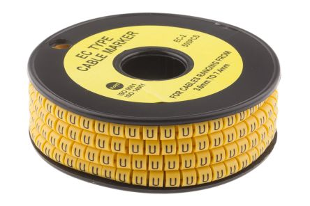 Slide On Cable Marker, Pre-printed U Black on Yellow 3.6 -> 7.4mm Dia. Range product photo