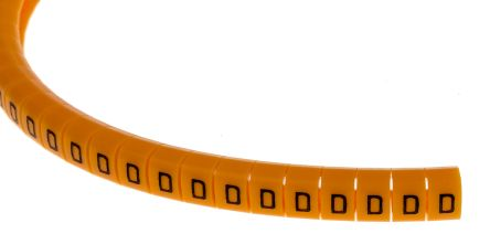 Snap On Cable Marker, Pre-printed D Black on Orange 4 -> 5mm Dia. Range product photo