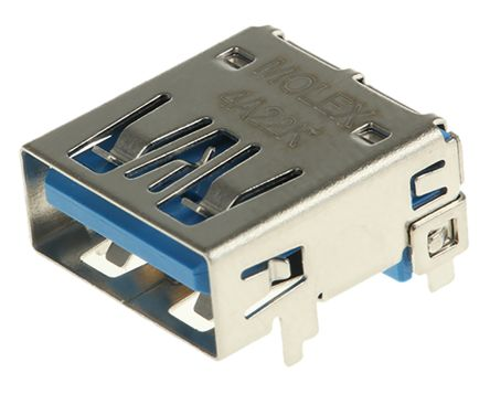 Molex 48393 Series, , 483930003 Series Number Right Angle Through Hole, Version 3.0 Type A USB Connector, Receptacle