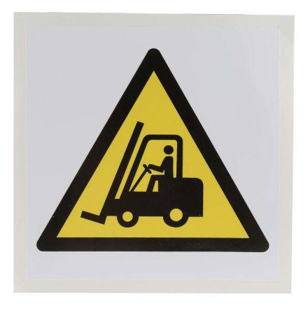 1 x Danger Fork Lift Trucks Label, Black/Yellow/White Self-Adhesive Vinyl product photo