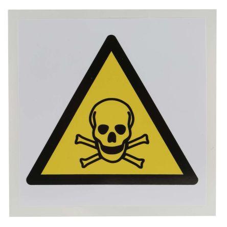 RS PRO 1 x Toxic Label, Black/Yellow/White Self-Adhesive Vinyl