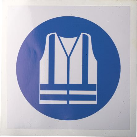 Vinyl Mandatory High Visibility Clothing Sign with Pictogram Only, 100 x 100mm product photo