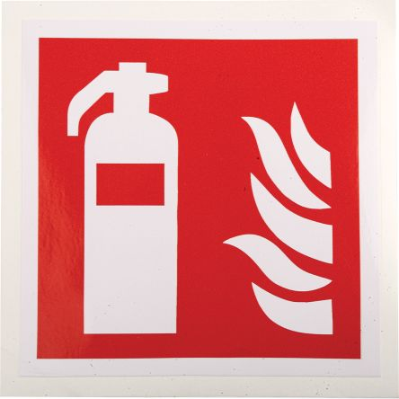 RS PRO Vinyl Fire Safety Sign, Fire Extinguisher Sign With Pictogram Only Self-Adhesive, 100 x 100mm