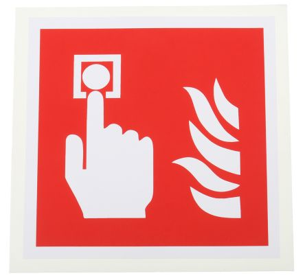 RS PRO Vinyl Fire Safety Sign, Fire Alarm Call Point Sign With Pictogram Only Self-Adhesive, 100 x 100mm