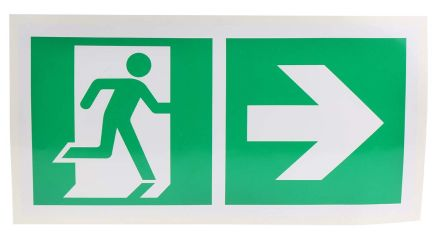 Vinyl Emergency Exit Right With Pictogram Only Non-Illuminated Emergency Exit Sign, 300 x 150mm product photo