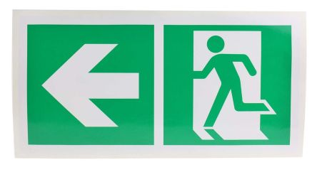 Vinyl Emergency Exit Left With Pictogram Only Non-Illuminated Emergency Exit Sign, 300 x 150mm product photo