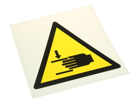 Crushing of Hands Sign, Black/Yellow/White Plastic product photo