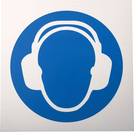 Plastic Mandatory Wear Ear Protection Sign with Pictogram Only, 200 x 200mm product photo