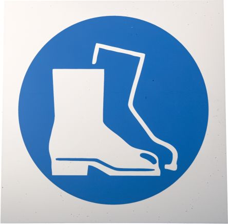 Plastic Mandatory Foot Protection Sign with Pictogram Only, 200 x 200mm product photo
