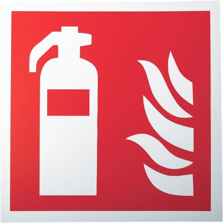 RS PRO Plastic Fire Safety Sign, Fire Extinguisher Sign With Pictogram Only, 200 x 200mm