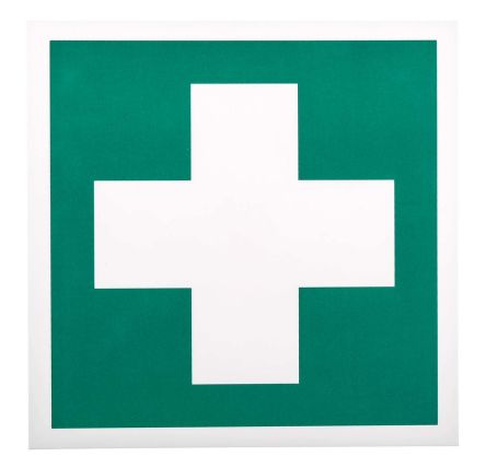 Plastic Green/White First Aid Sign, 200 x 200mm product photo