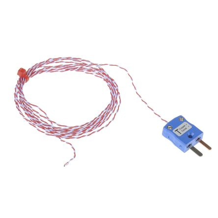 RS Pro Type T Thermocouple Copper probe 0.2 mm, 0.3 mm diameter, -75 ...