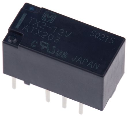 DPDT Non-Latching Relay PCB Mount, 12V dc Coil, 2 A product photo