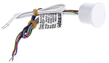 Illuminated White Wire Lead Piezo Switch, , IP68 / IP69, 200 mA@ 24 V, Single Pole Single Throw (SPST), -20 →