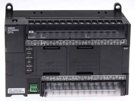 Omron CP1L-EM PLC CPU, Ethernet Networking Computer Interface, 10000 Steps  Program Capacity, 24 Inputs, 16 Outputs,