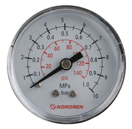 18-013-013 Analogue Positive Pressure Gauge Back Entry 10bar, Connection Size R 1/8 product photo