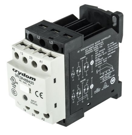 Drc3r48b420 solid state contactor 3 pole reversing 480v for Solid state motor starter