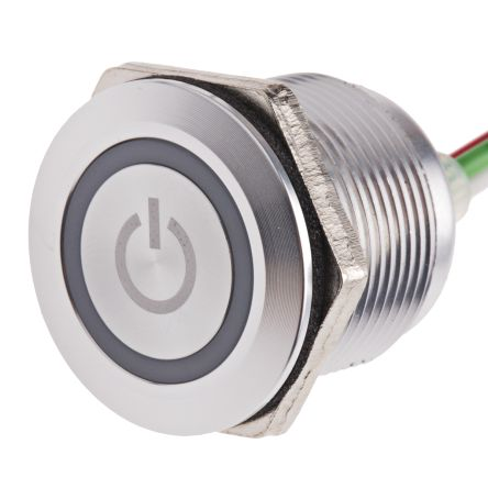 Push Button Touch Switch, Momentary, NO ,Illuminated, Green, Red, IP68 Brass, 5  30V dc