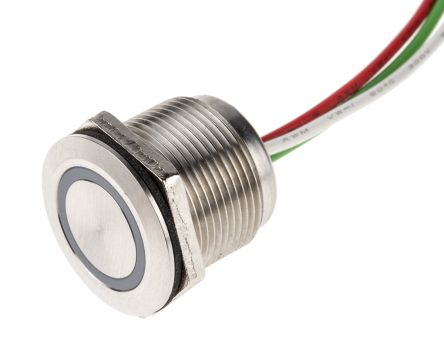 Push Button Touch Switch, Latching, NC ,Illuminated, Blue, IP68 Brass, 5  30V dc