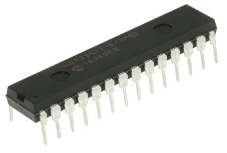 Microchip MCP23S17-E/SP, 16-Channel I/O Expander 10MHz, SPI, 28-Pin PDIP