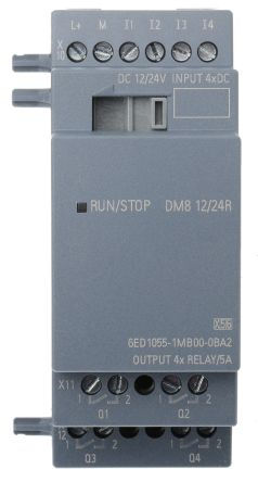 Siemens LOGO! 8 Expansion Module, 12 → 24 V dc Relay, 4 x Input, 4 x Output Without Display