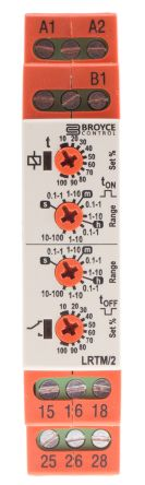 Dual Function Timer Relay, Screw, 0.1 s → 100 h, DPDT, 2 Contacts, DPDT, 12 → 230 V ac/dc