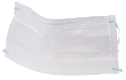 RS PRO Cleanroom Combined Polymer Face Mask, White - Pack of 100