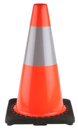 RS PRO Weighted Black, Orange, White 450mm PVC, Rubber Traffic Cone