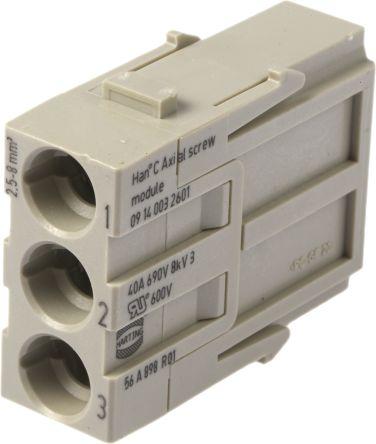 Han-Modular 0914 Series Axial Module, Male, 3 Way, 40A, 690 V