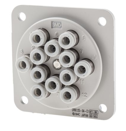 12 Outlet Ports 304 Stainless Steel, C3604BD, POM Pneumatic Multi-Connector Tube Panel, Push In 4 mm product photo