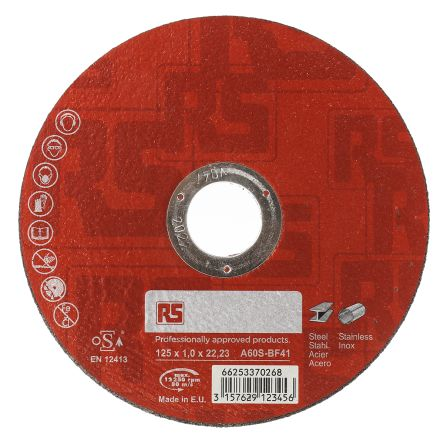 RS PRO RS PRO Aluminium Oxide Cutting Disc, 125mm Diameter P60 Grit, 1mm Thick