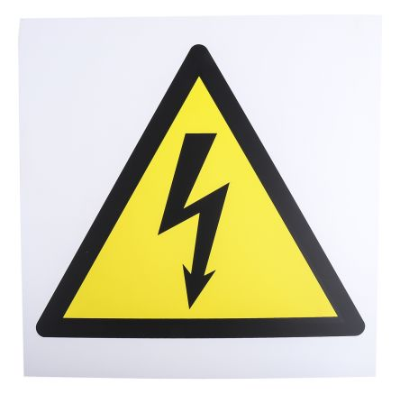rs pro 1 x electrical hazard sign black yellow white plastic rs