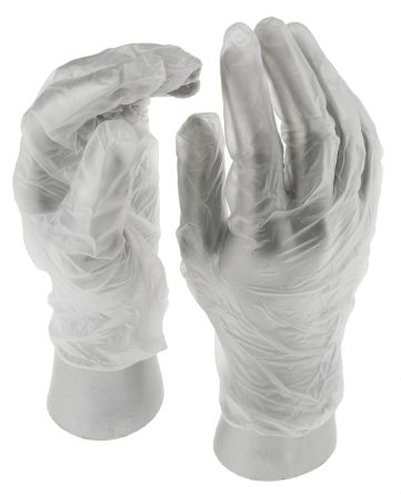Clear Vinyl Gloves size 8.5 - L Powdered x 100 product photo