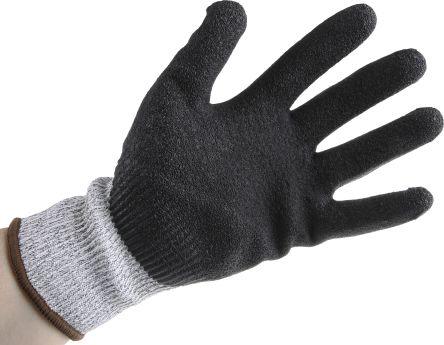 RS PRO Latex-Coated Cut Resistant Gloves, size 9, Black