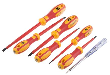 RS Pro 7 pieces Insulated Phillips, Slotted Screwdriver Set