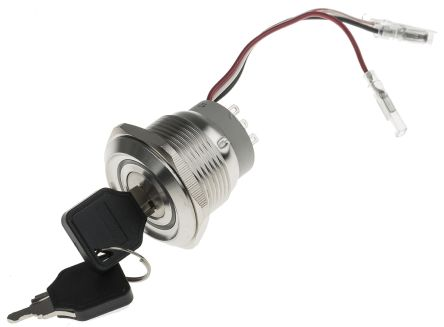 IP40 Key Switch, Double Pole Double Throw (DPDT), 5 A 3-Way, -20 -> +55°C product photo