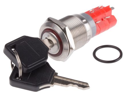 IP40 Key Switch, Double Pole Double Throw (DPDT), 5 A 2-Way, -20 -> +55°C product photo