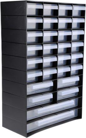 RS PRO Black, Plastic 30 Drawer Unit, 420mm x 270mm x 130mm