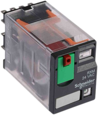 Rxm4ab2b7 Schneider Electric 24v Ac Coil Non Latching Relay 4pdt 8a Switching Current Plug In 4 Pole Rs Components
