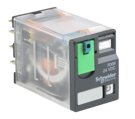 Rxm4ab2bd Schneider Electric 24v Dc Coil Non Latching Relay 4pdt 8a Switching Current Plug In 4 Pole Rs Components