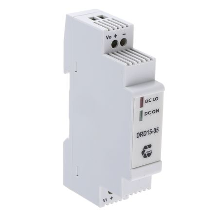 Chinfa DRD15 13.5W DIN Rail Panel Mount Power Supply DIN Rail Mount, Vin 9 → 36 V dc, Vout 5V dc