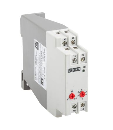 RS Pro True Off Delay Single Timer Relay, Screw, 0 6 → 600 s, DPDT, 2  Contacts, DPCO, 24 → 240 V ac/dc