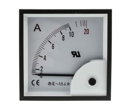 RS PRO Analogue Panel Ammeter 20A AC, 92mm x 92mm, ±1.5 % Moving Iron