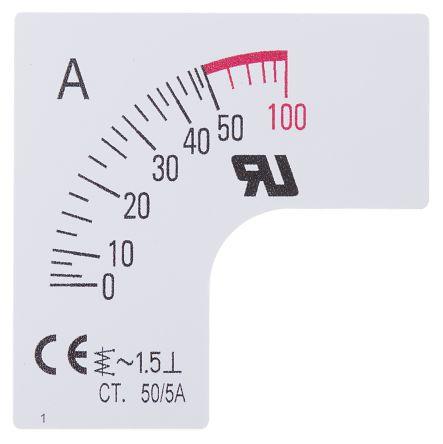 Escala de medidor RS Pro SC48-50F2-90-RS, para uso con Amperímetro de 48x48