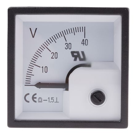 RS PRO DC Analogue Panel Voltmeter, 40V, 46 x 46 mm, 1.5 % Accuracy